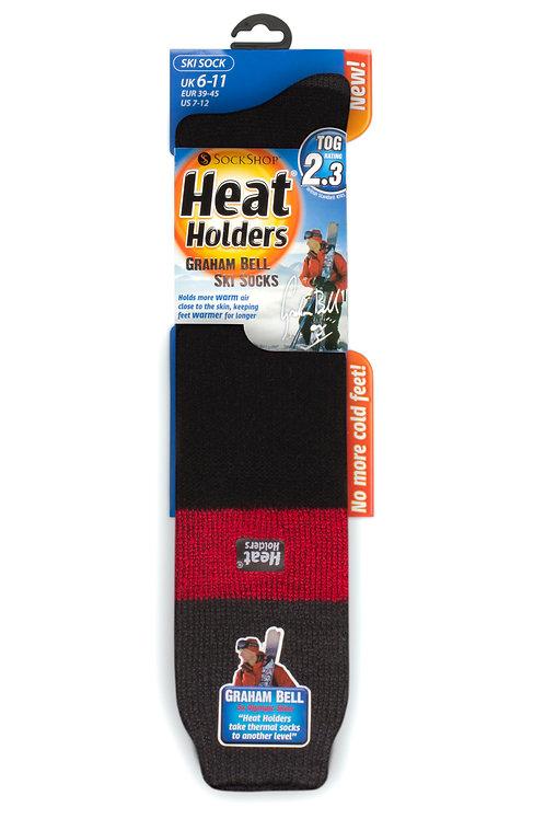 Mens Ski Heat Holders - Charcoal/Red/Black