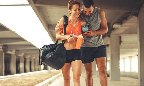 Couple enjoying recovery shakes