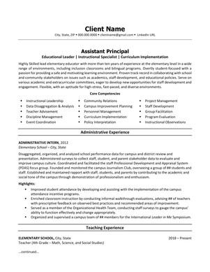 Assistant Principal Resume