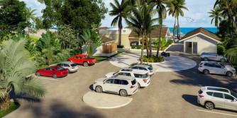 entrada y parqueos club de playa