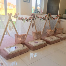 White lace & Pink Teepees