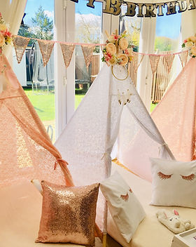 Rose Gold & White Wigwams for Hire