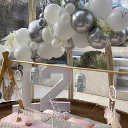 Silver White Balloon garland