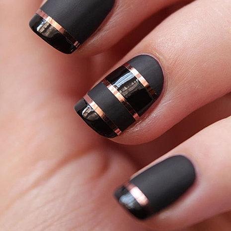 Nail artsindiainclinatio black matte shiny nail art prinsesfo Image collections