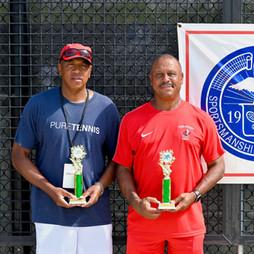 Men's 65 & Over doubles finalists:  Fleming, Gregory / Lee, Alexander