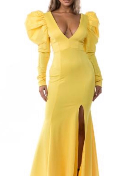 Deep V-neck Gown With Puff Sleeves