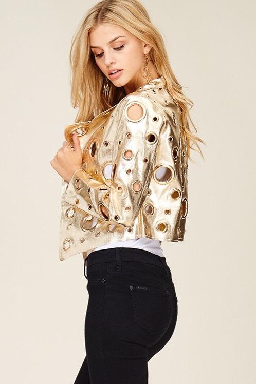 Grommet Vegan Leather Jacket