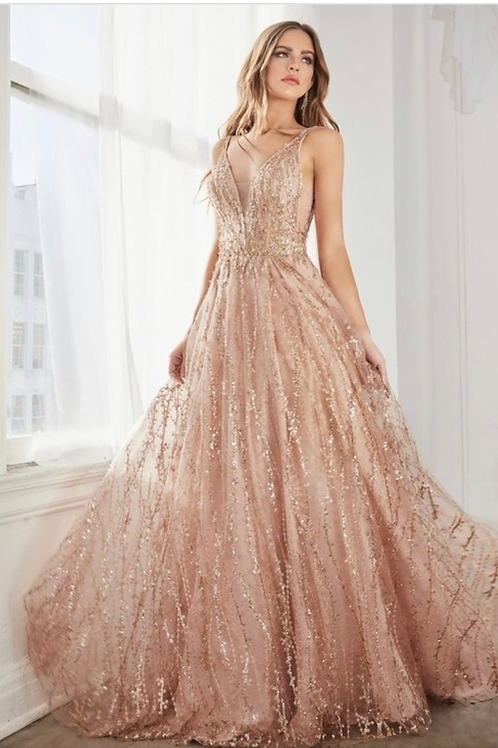 V-Neckline Glittered Sleeveless A-Line Dress