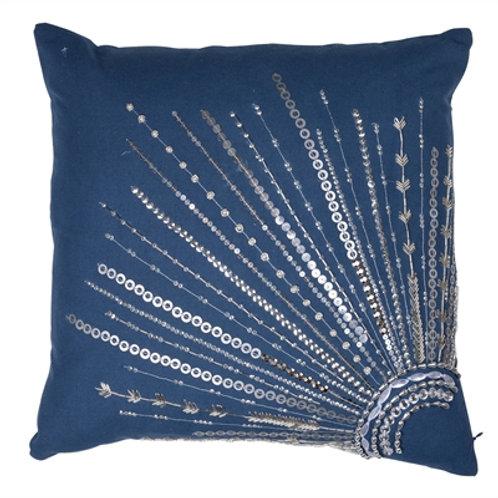 "18x18"" Nina Silver Beaded Pillow"