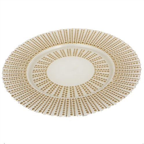 White Gold Round Glass Charger