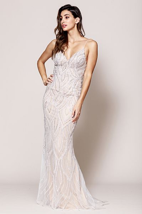 Sequin Beadd Prom Gown With V Neckline