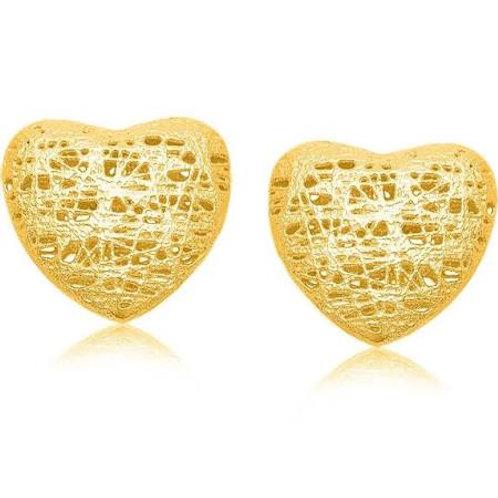 Mesh Puff Heart Stud Earrings in 14K Yellow Gold