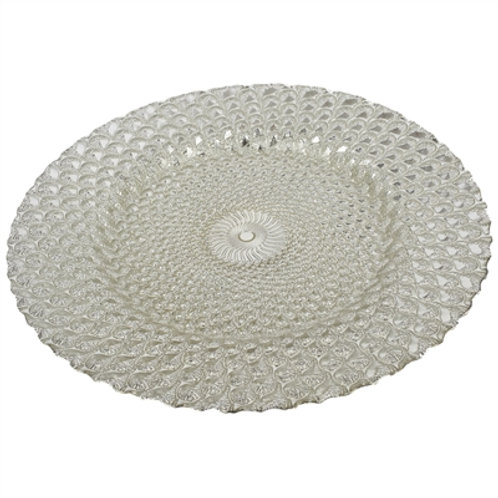 Round Glass Charger Plate Silver