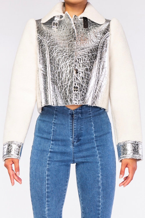Sherpa Fleece Metallic Leather Crop Jacket