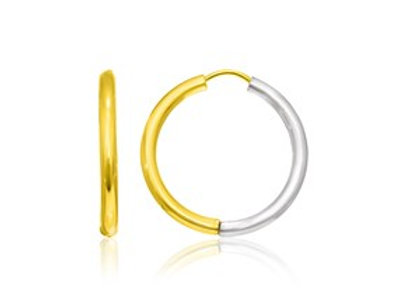 Hinge Style Hoop Earrings in 14K Two-Tone Gold