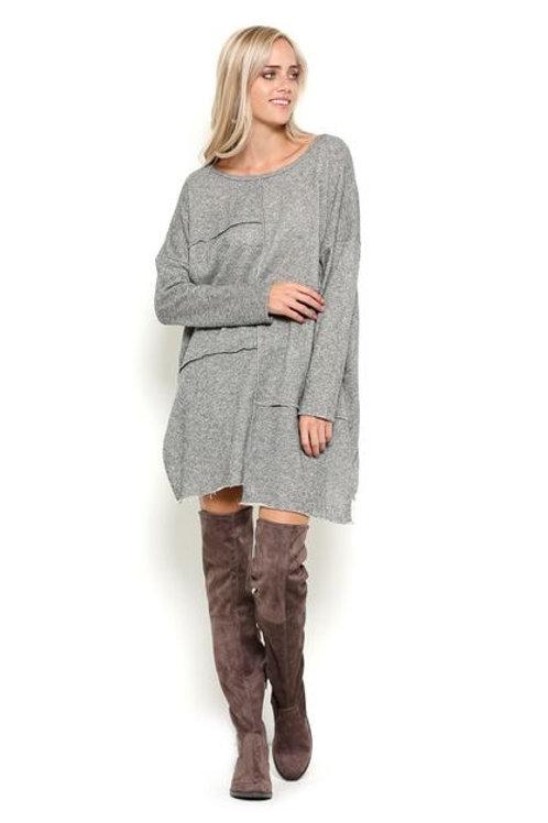 Oversized Asymmetrical Knit Dress