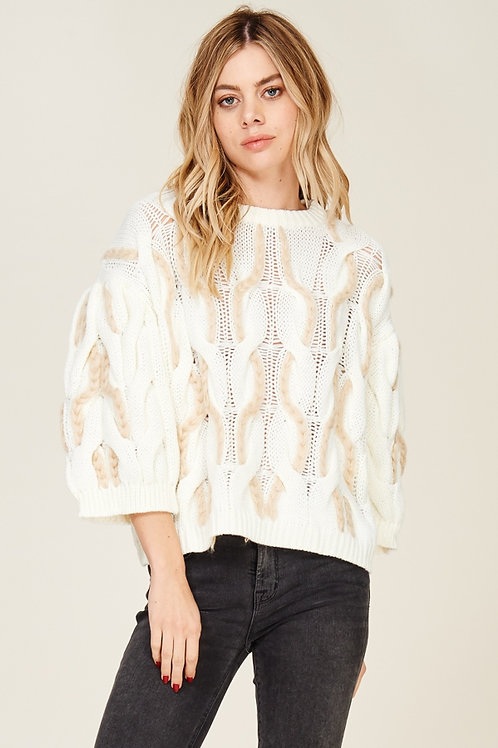 Long Puff Sleeve Pullover Sweater