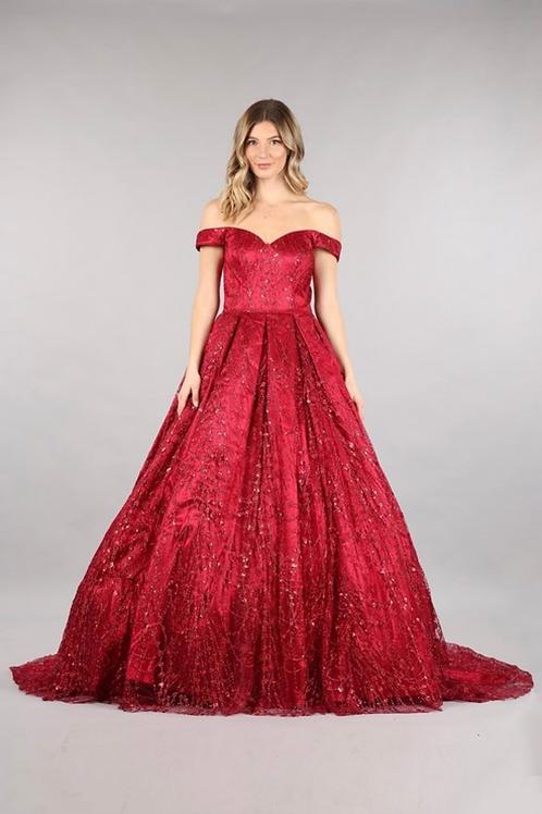 Off Shoulder Sequin Gown