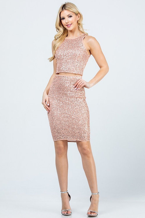 Sequin Crop Top and Pencil Skirt Set