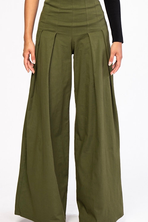 Wide Leg Flared Pleated Pants