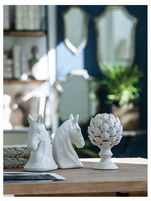 Ceramic Horse Head Bookend White