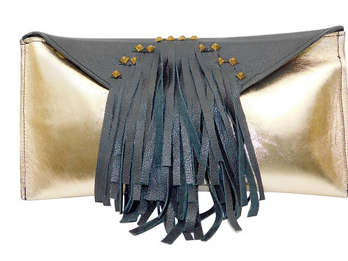 Egyptian Fringed Black/Gold Leather Clutch