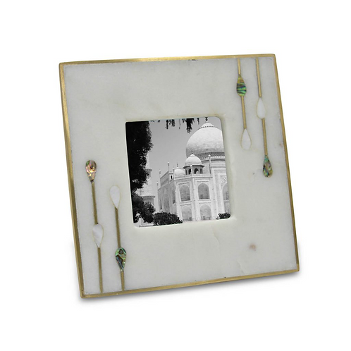 Marble,Brass,and Shell Photo Frame