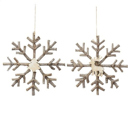 S/2 Deer/Tree Swflk Ornament