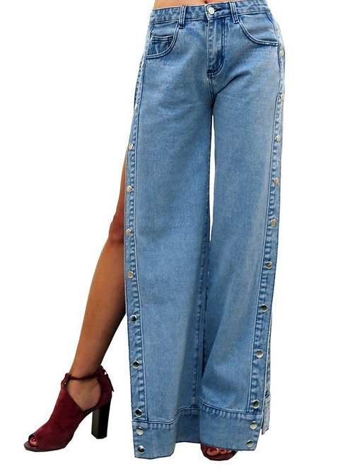 Side Button Jeans