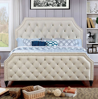 Claudine Contemporary King Bed In Beige