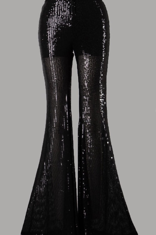 Mid Rise Sequins Super Flare Pants