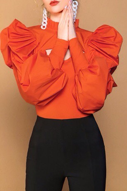 Cutout Front Bubble Sleeve Blouse