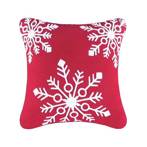 Snowflakes Red Pillow