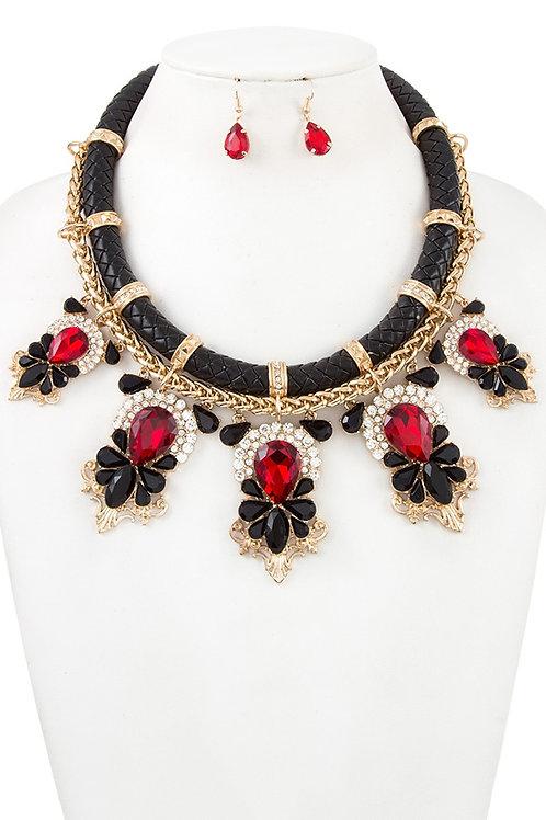 Rhinestone And Crystal Gem Tiered  Bib Necklace