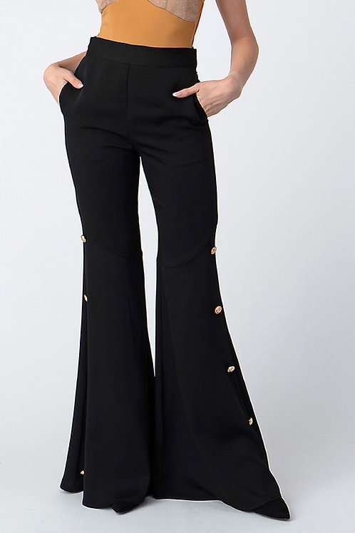 High Waisted Button Detail Flared Pant