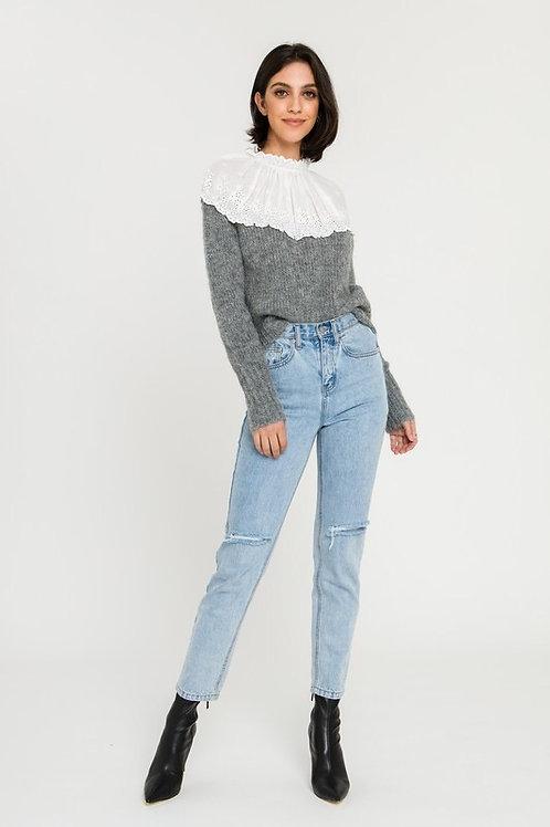 Eyelet Combo Sweater