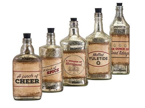 Homestead Christmas Vintage Label Glass Bottles - Set of 5