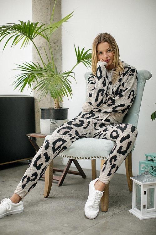 Leopard Knit Pants Set