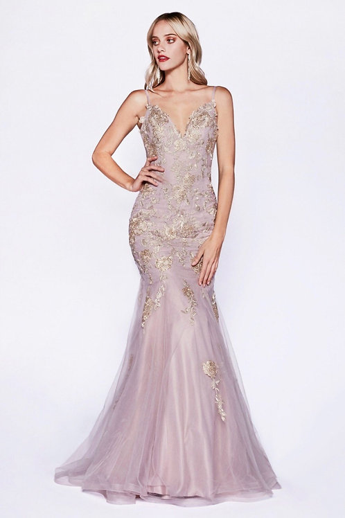 V-Neckline Sexy Fitted Long Prom Dress with Floral Applique