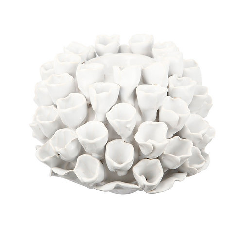 Open Coral Candle Holder White