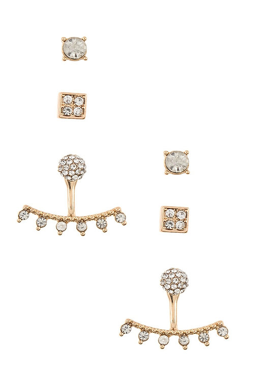 Rhinestone Pave Ear Jacket Post Earring Set