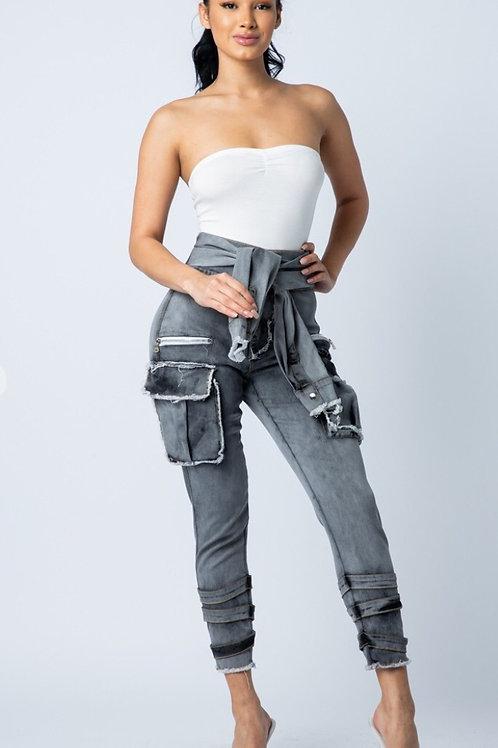 Sleeve Detail Denim Pants