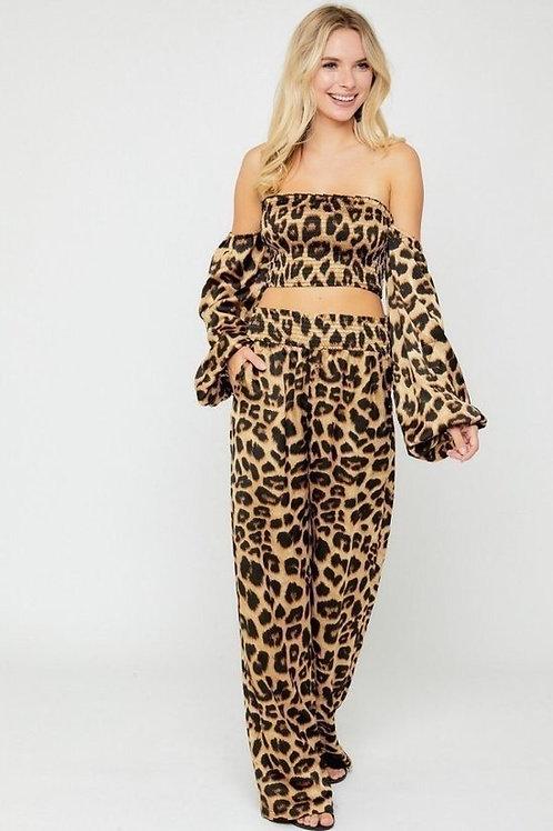 Leopard Print Pants Set