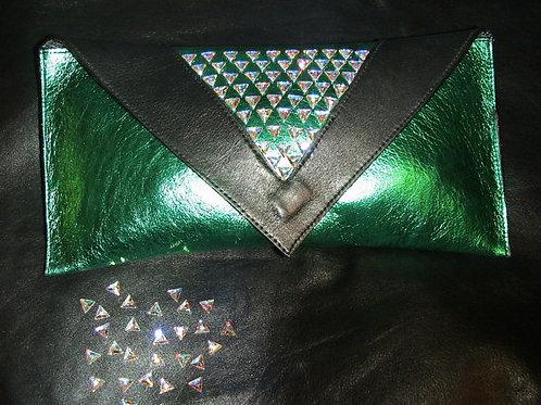 Project Sheen Leather Clutch w/Swarovski Crystals