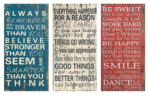 Rules of Life Wall Decor - Set of 3