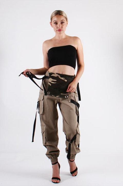 Double Pocket Back Camo Overalls W/Strap
