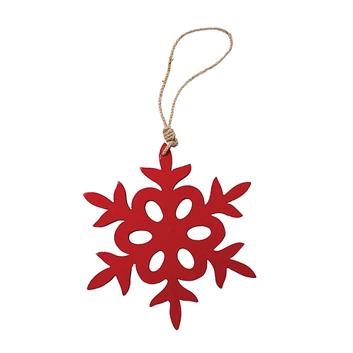 Large Red Carved Snowflake Ornament