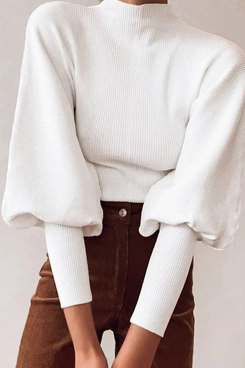 High Collar Lantern Sleeve Sweater