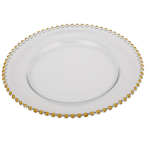 Gold Beaded Rim Glass Charger