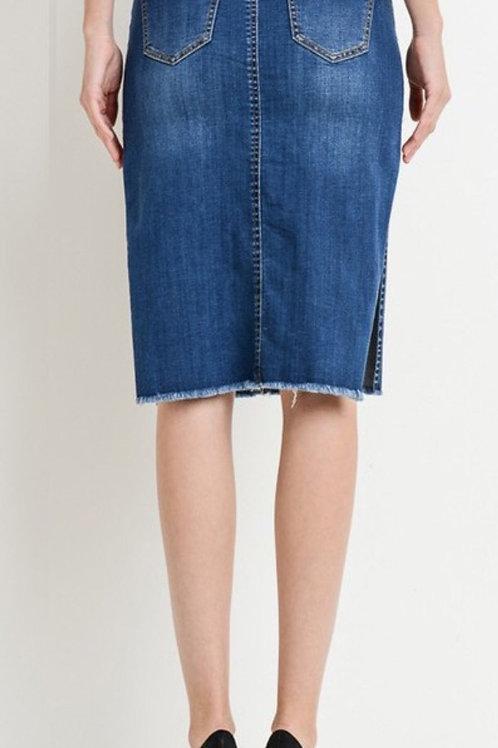 High Waist Deep Slit Midi Skirt